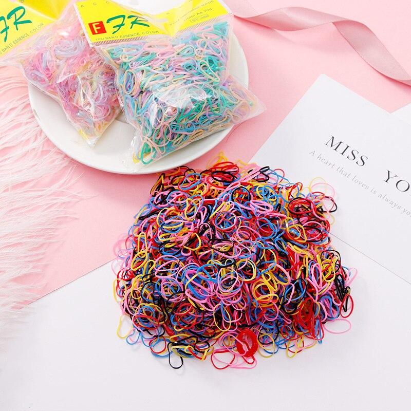 1000PCS/Lot Disposable Gum For Hair Children TPU Rubber Bands Ponytail Holder Elastic Hair Band Girls Scrunchie Hair Accessories
