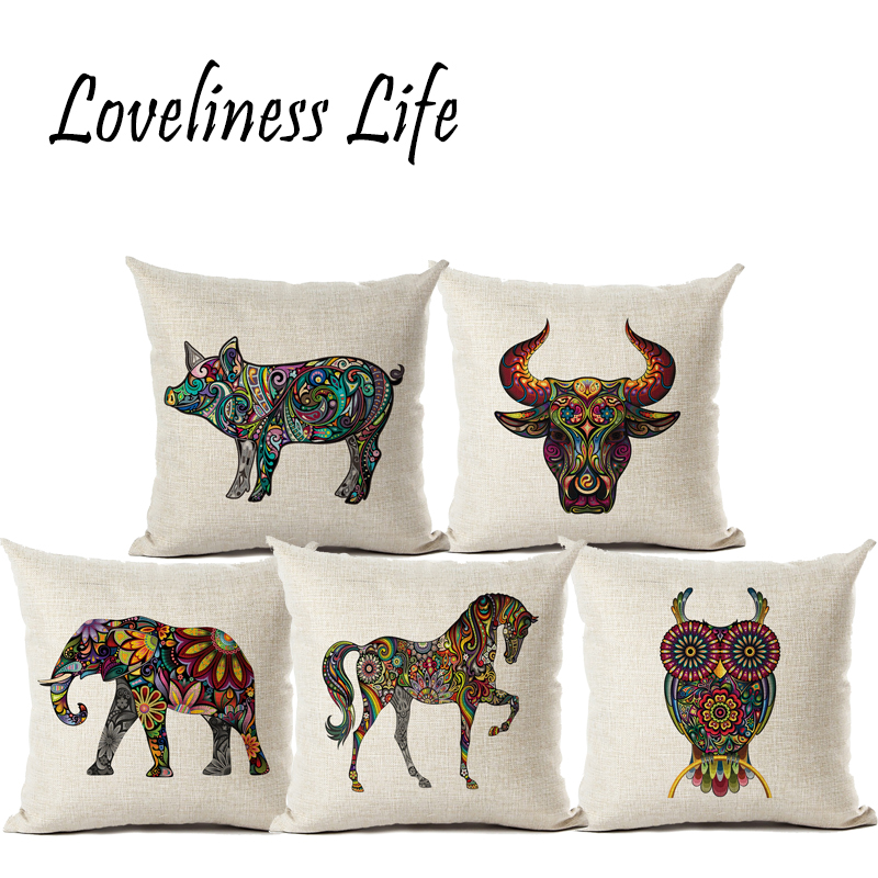 Bohemian Totem Animal Pig/Bird Linen Pillow Cushion Cover