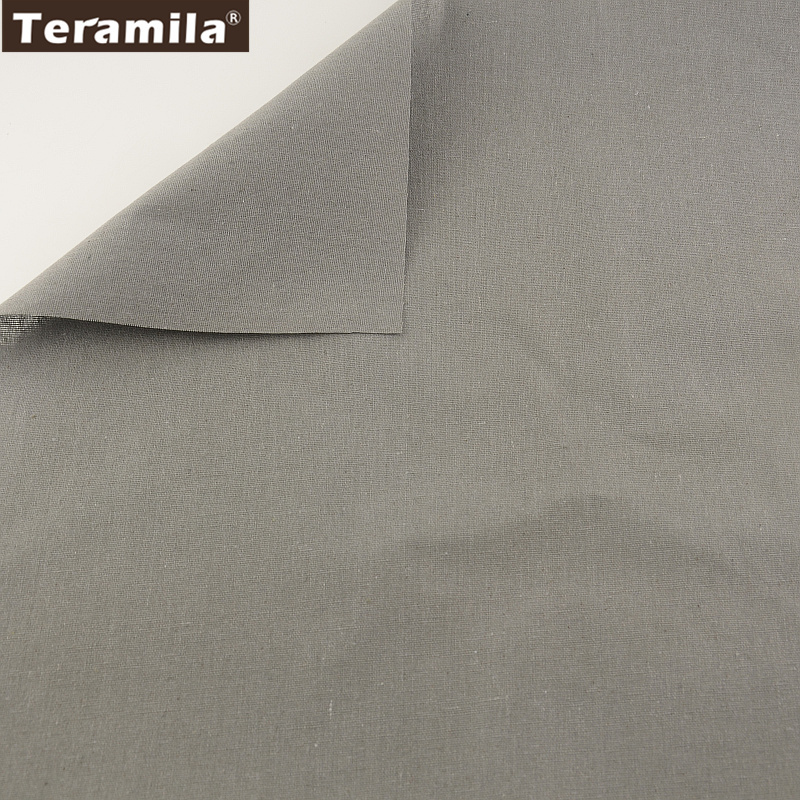 Solid Grey Color Home Textile Cotton Linen Fabric Sewing Material Tissu Tablecloth Pillow TERAMILA Bag Curtain Cushion Pillow CM craft