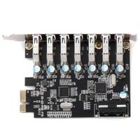Add On SuperSpeed 7 Port Mini Hub Internal Desktop Black 5V 4 Pin PCI E Express Adapter Expansion Card USB 3.0