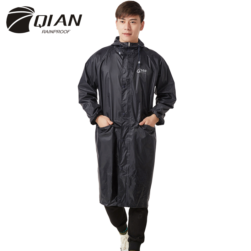 QIAN RAINPROOF Impermeable Long Style Raincoat Adults Waterproof Trench Coat Poncho Rain Coat Female Rainwear Rain