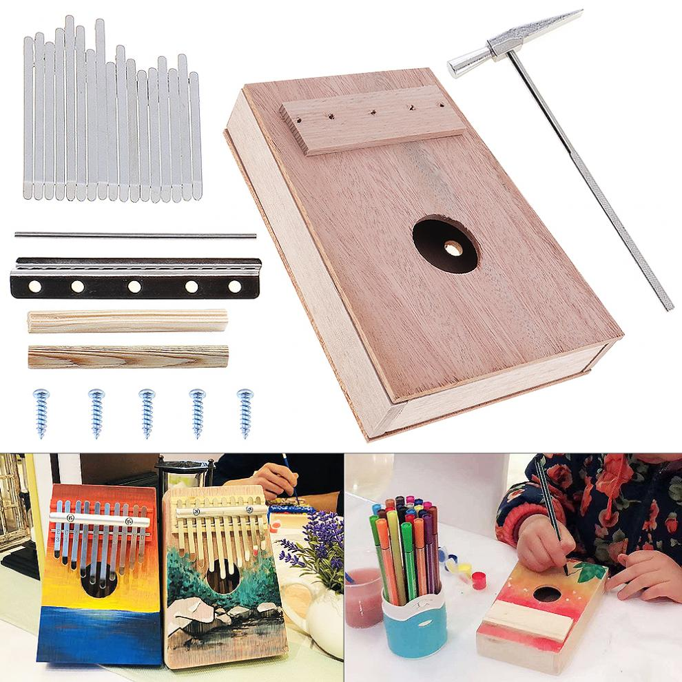 Shoes 10 Key Kalimba Full Diy Tool Diy Kit Bag Mahogany Thumb Piano For Handwork Painting Parents-child Campaign Kb22