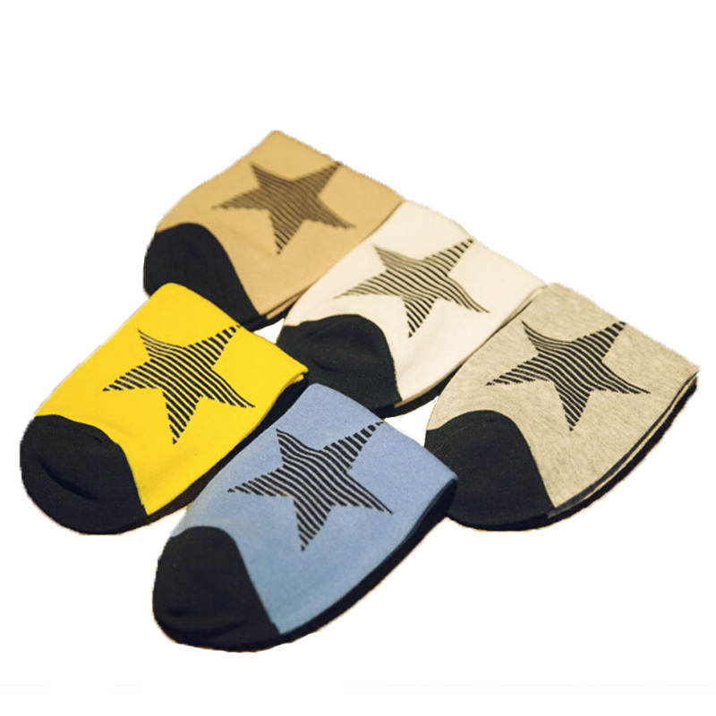 Hot selling!2016 Summer Boat Socks Men Cotton Five-Pointed Star Autumn Men Thin Socks Graphic Socks 5pair/lot