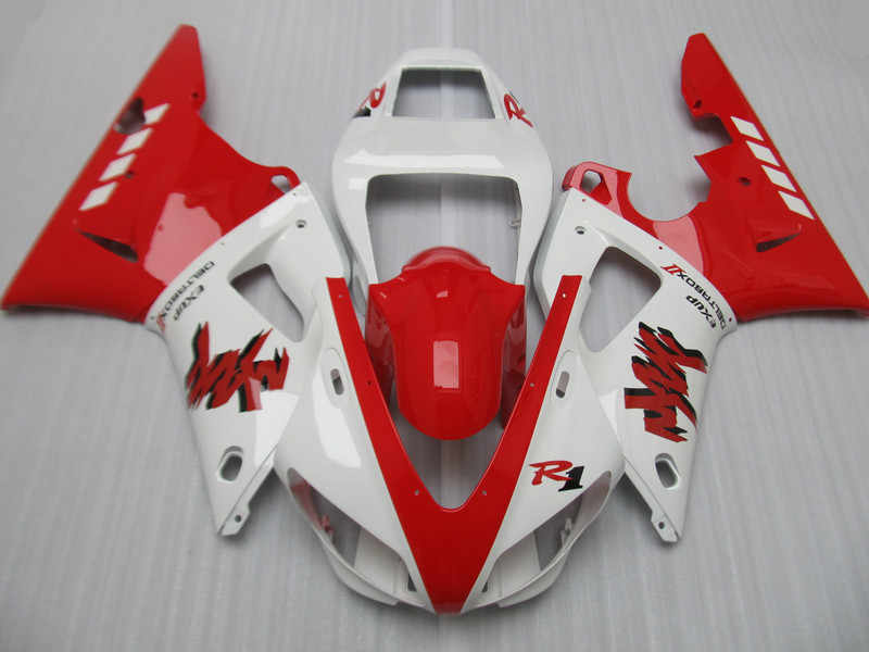 Top-rated Motorcycle Fairing kit for YAMAHA YZFR1 98 99 YZF R1 YZF1000 1998 1999 ABS White hot red Fairings set+Gifts YG02