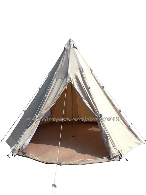 Diameter 4m/5m Waterproof Cotton Canvas Bell Tent Outdoor Sibley Gl&ing Teepee Tent  sc 1 st  AliExpress.com & Diameter 4m/5m Waterproof Cotton Canvas Bell Tent Outdoor Sibley ...