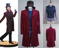 Чарли и шоколадная фабрика Джонни Депп Вилли Вонка рубашка + жилет + пальто + шляпа полный набор Фильм Хэллоуин костюмы для косплея Для мужчи