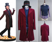 Charlie and the Chocolate Factory Johnny Depp Willy Wonka Shirt+Vest+Coat+Hat Full Set Movie Halloween Cosplay Costumes For Men