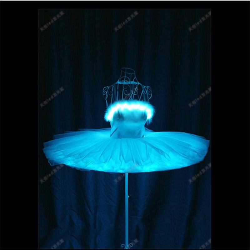 TC-168 Programmable luminous light RGB led costume Ballet skirt ballroom dance dress women stage singer wear catwalk performance
