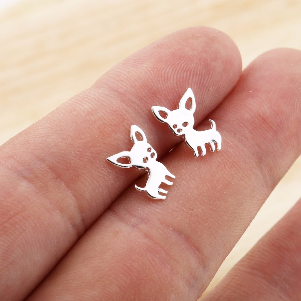 Jisensp New Arrival Chihuahua Earrings for Women Cute Dog Stud Earrings pendiente Love my Pet Jewelry Animal Earring bijoux E173