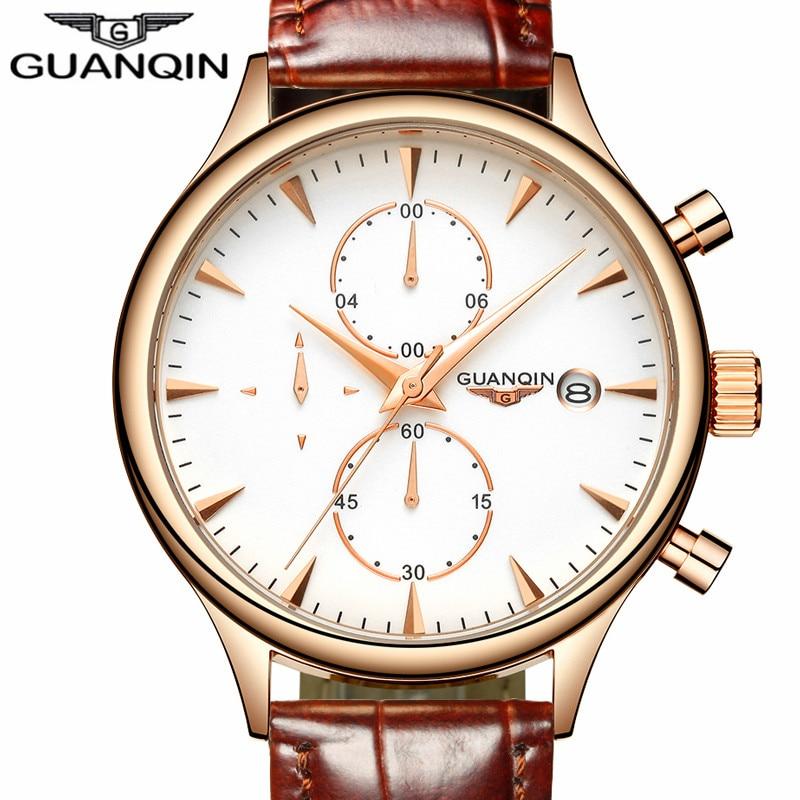 Prix pour Relogio Masculino GUANQIN Hommes Montres Top Marque De Luxe De Mode Chronographe Date Quartz Montre Hommes Sport Bracelet En Cuir Montre-Bracelet