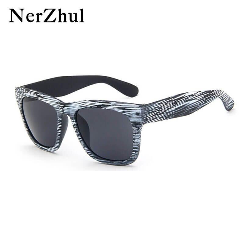 2f851f35de04 NerZhul Wood Grain Silver Mirror Sunglasses Men Women Fashion Black Driving  Oval Sunglasses Blue Square Sun glasses For mens