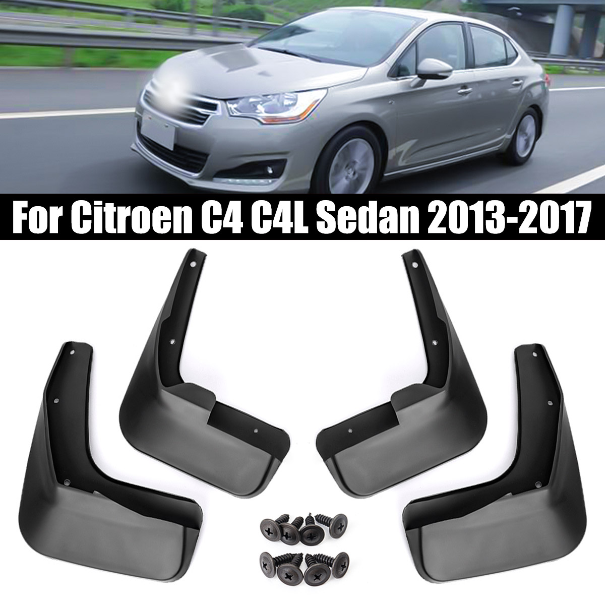 Car Front Rear Mudflaps Mud Flaps Mudguards Splash Guards For Fender For <font><b>Citroen</b></font> <font><b>C4</b></font> Sedan C4L <font><b>C4</b></font> L 2013 2014 2015 <font><b>2016</b></font> 2017 image