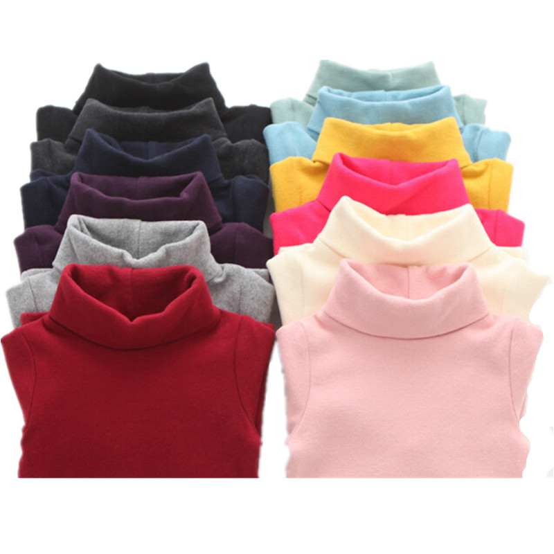 Autumn Winter Children Turtleneck Kids Sweaters 10 Solid Colors Girls Sweater Boys Pullover Basic Shirt 2-10 years