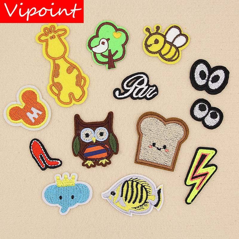 VIPOINT embroidery owl eyes patches trees fish badges applique for clothing XW-32
