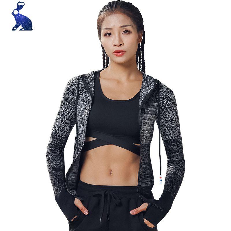 7faf52dc70 Women's hooded Sport Top Correr running jacket chaqueta mujer chaqueta Yoga  manga larga quick-drying fitness ropa M-001