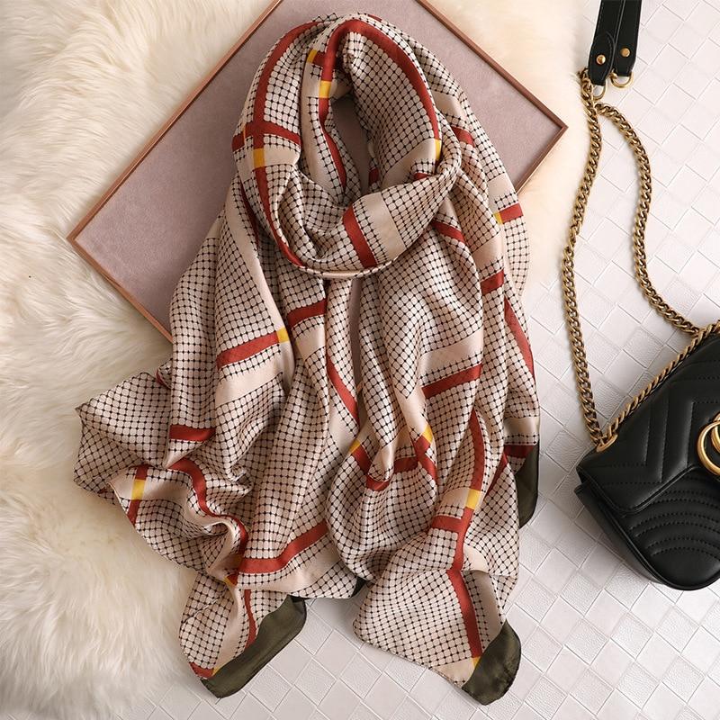 Simple Diamond Lattice Silk Scarf Women Luxury Brand Designer Shawls And Wraps Spring Summer Pashmina Head Scarves Foulard Hijab
