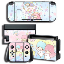 Protector Cover Decal Vinyl Skin Sticker for Nintendo Switch NS Console+Controller+Stand Holder Little Twin Stars stickers(China)