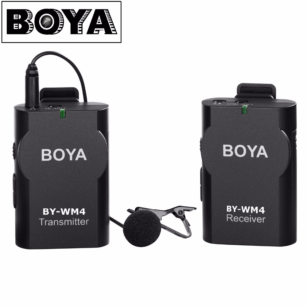 BOYA BY-WM4 Wireless Lavalier Microphone system for Canon Nikon Sony Panasonic DSLR Camera Camcorder iphone android smartphone boya by wm4 wireless lavalier microphone system smartphone lapel mic for iphone 8 7 android canon nikon tablet pc audio recorder