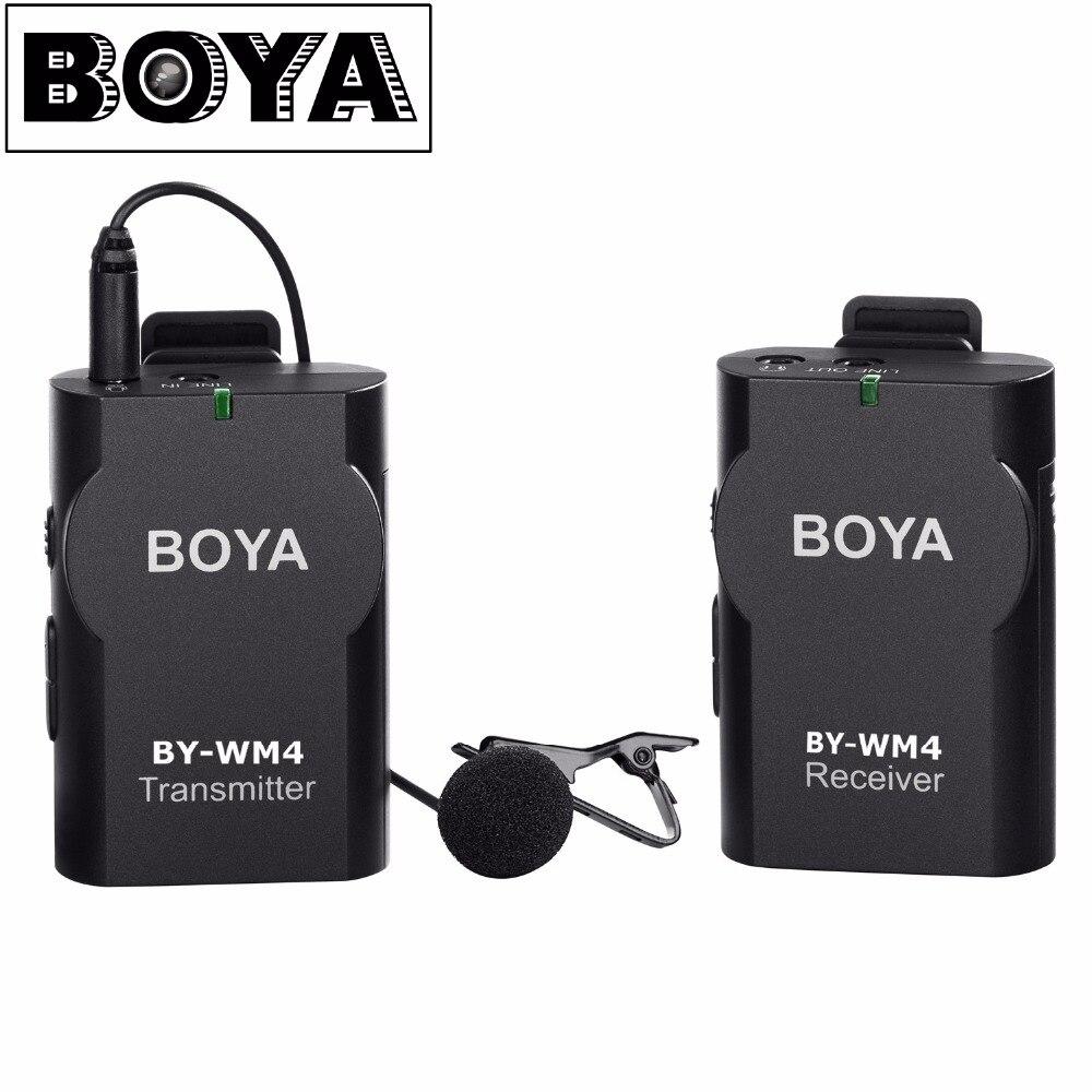 BOYA by-wm4 Беспроводной петличный микрофон система для Canon Nikon Sony Panasonic DSLR Камера видеокамеры iphone Android-смартфон