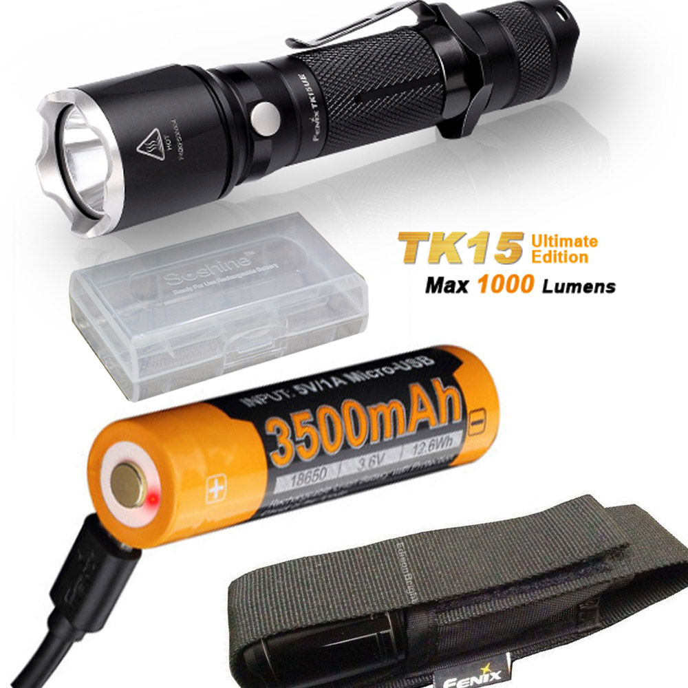 Fenix TK15UE (Ultimate) 2016 CREE LED 1000 Lumen tactical Flashlight with Fenix AB-L18-3500U battery,USB Charge Cable