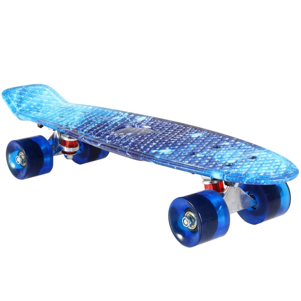 22 pulgadas cielo estrellado Skateboard 100 kg carga Retro patín Mini tablero deporte al aire libre calle Skate para niños adultos regalo
