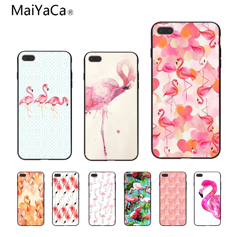 Us 1 19 40 Off Maiyaca Pink Flamingo Wallpaper Coque Shell Phone Case For Apple Iphone 8 7 6 6s Plus X 5 5s Se Xr Cellphones In Half Wrapped Cases