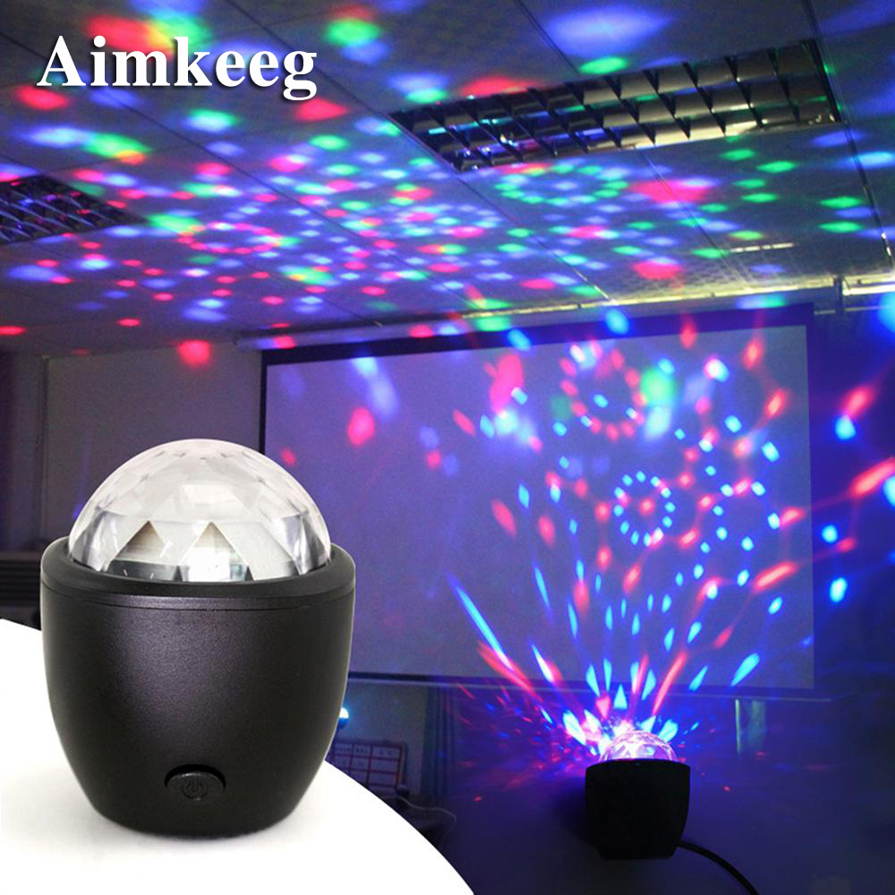 Aimkeeg Mini USB LED Stage Light Effect Voice Activated Crystal Magic Ball Projector Party Lights For Home KTV Bar Party Concert