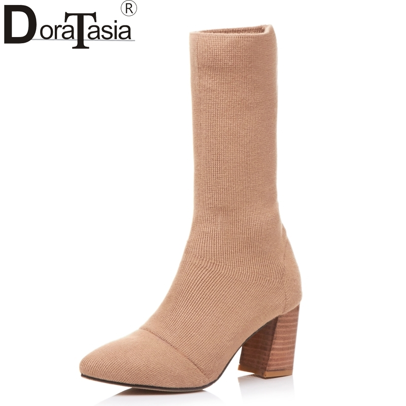 DoraTasia 2017 Brand Design Large Size 33-43 Cashmere Knitting Elastic Women Shoes Woman Sexy Square High Heels Party Boots doratasia 2018 large size 33 43 brand design fur summer women shoes sandals sexy platform thin high heels party shoes woman