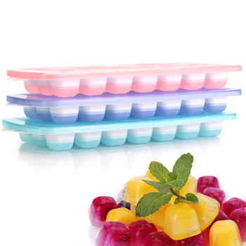3-pack Silicone Ice Cube Trays With Spill-Resistant Removable Lid, Easy Release Stackable 21 Cavity DIY Ice Cube Maker
