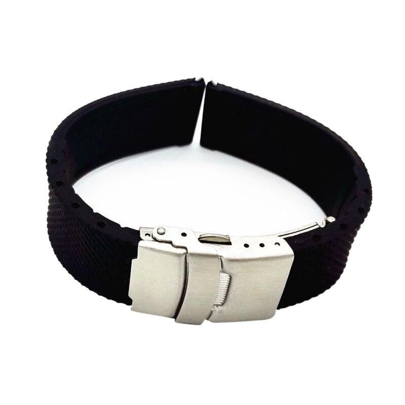Silikon Gummi Edelstahl Doppel Klicken Klapp Schließe Uhr Band Strap Gerade Ende Armband Schwarz 20 22 24mm