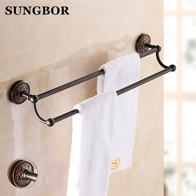 ФОТО Free Shipping Bathroom Accessories Antique Double Towel Bar Bathroom hardware Wall Mounted Brass Towel Holder HF-96611F