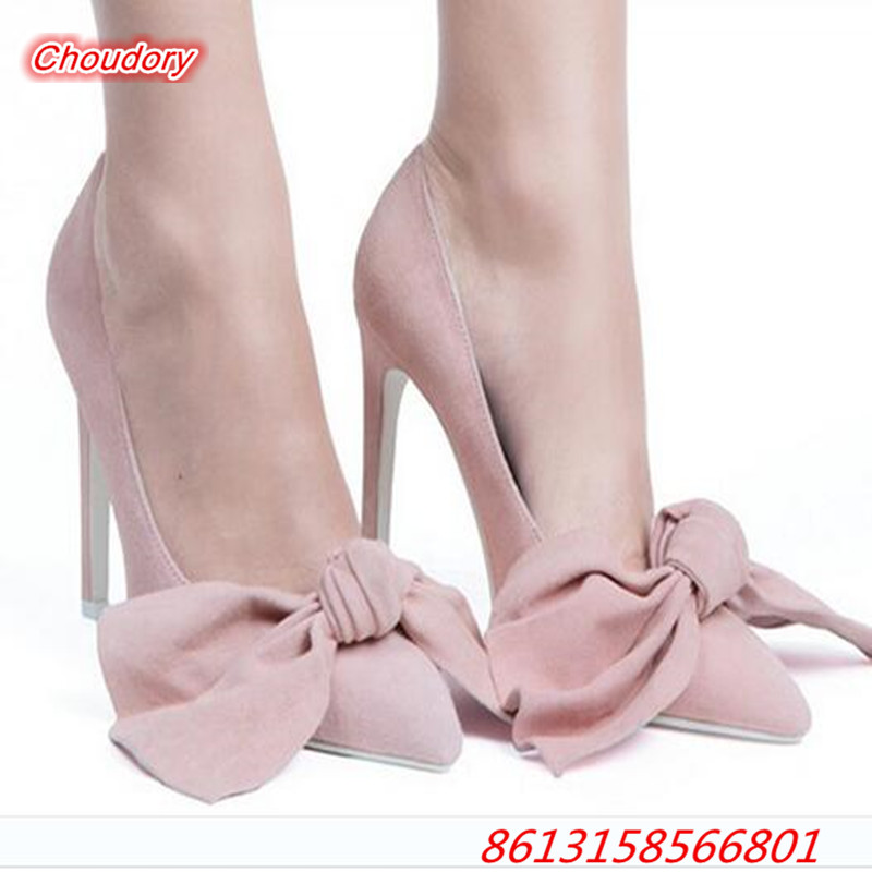 Butterfly knot Slip on font b Women b font Pumps Pointed Toe Sexy High Heels font