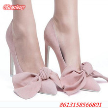 Butterfly-knot Slip-on Women Pumps Pointed Toe Sexy High Heels Shoes Women Party Wedding Shoes Thin Heels Female Lazy Shoes
