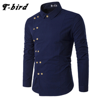 T Bird New Brand 2017 Men Shirt Double Breasted Dress Shirt Long Sleeve Slim Fit Camisa