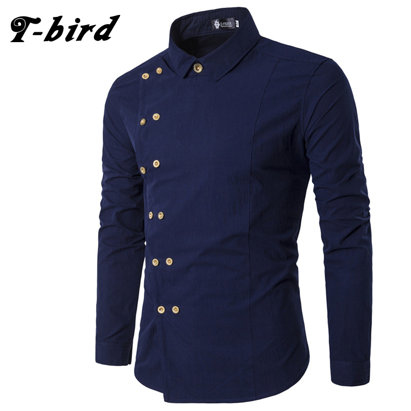 T bird new brand 2017 men shirt double breasted dress for Mens slim hawaiian shirt