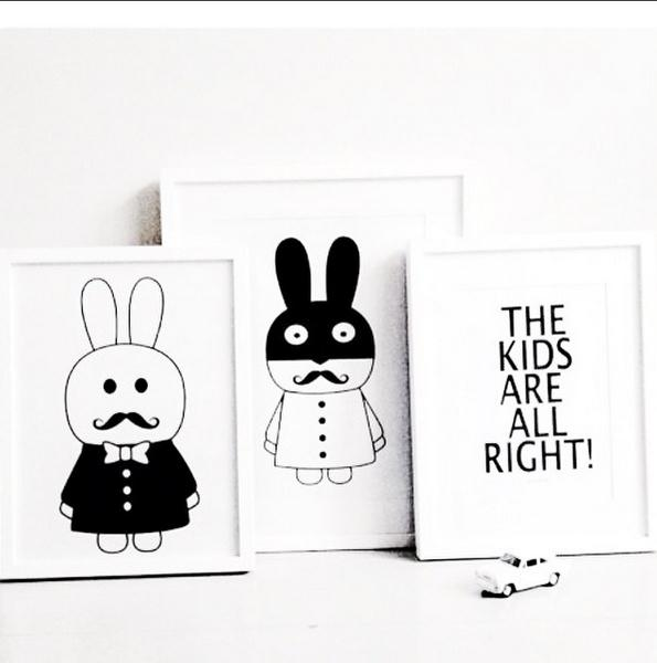 New decorative pictures poster art for kids room baby painting black and white batman bunny posters and prints frame not include in painting calligraphy