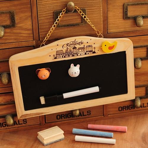 Dual side blackboard and whiteboard chalk set Mini wall mount black board Wooden Zakka home decoration school supplies 6520