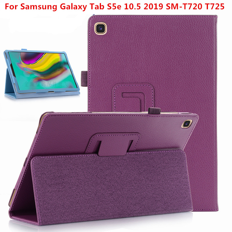 Litchi Pattern PU Leather <font><b>Case</b></font> for Samsung Galaxy Tab S5E 10.5 Tablet Cover for 2019 Release 10.5 Inch Tab S5E Folio Coque <font><b>Cases</b></font> image