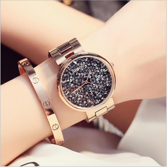 GUOU Luxury Diamond Watch Women Watches Shiny Rhinestone Women's Watches Ladies Watch Clock bayan kol saati relogio feminino 2018 new arrive fashion golden ladies watch women leather wrist watches diamond gold clock saat relogio feminino bayan kol saati
