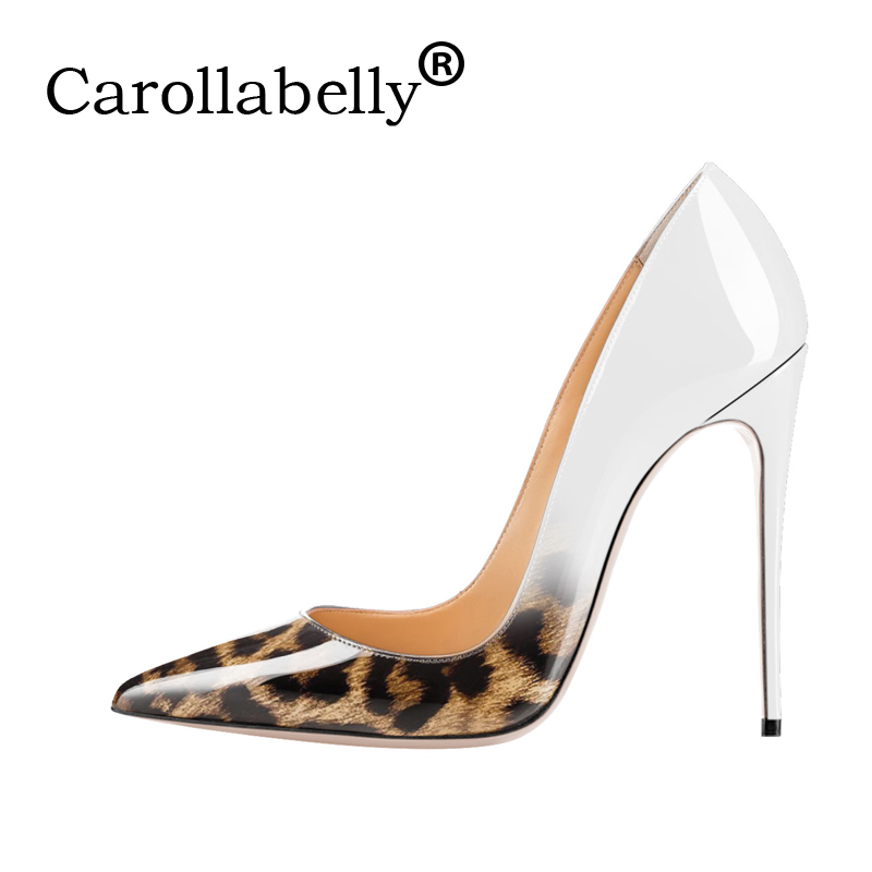2018 Carollabelly Brand Sexy Leopard Gradual Women Pumps Pointed Toe Thin High Heels New Fashion Luxury Women Shoes Wedding Sho fletite top quality elegant embroidery 8 color women pumps pointed toe thin high heels 2018 new fashion luxury women shoes brand