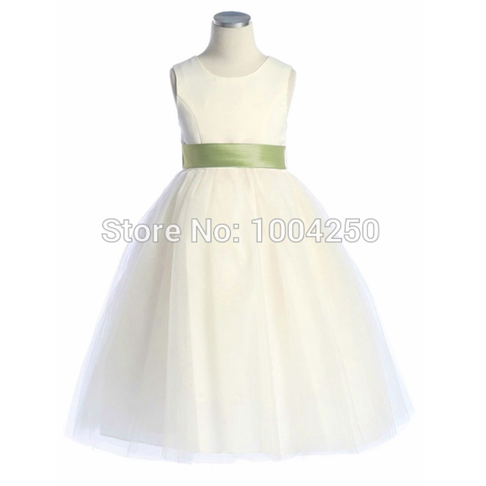 Free Shipping High Quality Ivory Satin Tulle   Dress   Removable Sash   Flower     Girl     Dress   Little   Girl   Pageant   Dress   AF007