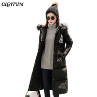 2018 Women winter Big fur collar hooded coat Long section Duck cotton coat high quality thicken warm over cotton jacket parka