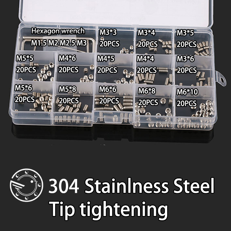 260Pcs DIN914 M3 M4 M5 M6 304 Stainless Steel Grub Screws Cone Point Hexagon Hex Socket Set Screws Assortment Kit 440pcs m3 m4 m5 a2 stainless steel iso7380 button head allen bolts hexagon socket screws with nuts assortment kit no 2345