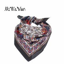 Paisley Bandana Men Floral Square Silk Scarf Satin Black Scarves For Women Printed Pastel Winter Ladies Decorative 60cm x 60cm(China)