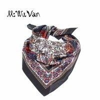 Paisley Bandana Men Floral Square Silk Scarf Satin Black Scarves For Women Printed Pastel Winter Ladies Decorative 60cm x 60cm