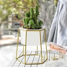 Desktop Decoration Geometric Gold Iron Rack Holder White Small Ceramic Planter Ceramic Succulents Herb Pot Plant Flower Pot Set