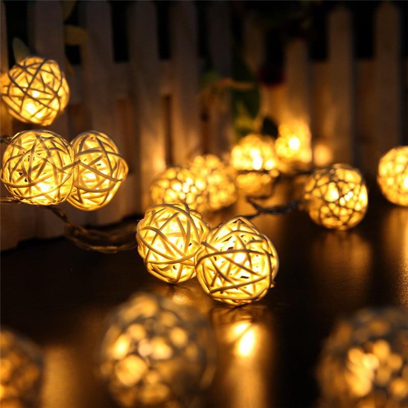 Oobest 2.2m 20LED Rattan Ball String Light Garland String Light Romantic Chinlon Lights Garden Wedding Lamp Decoration Christmas
