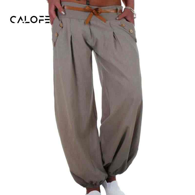 6f34b63934 CALOFE 2018 Hot Sale Women's Fashion Plus Size 5XL Solid Color Casual Long  Pant Loose Baggy