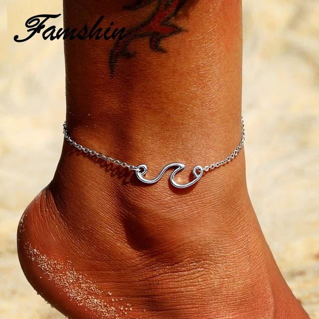 Tobilleras de playa multicapa a la moda para mujer Vintage playa olas de mar colgante pulsera tobillera Cadena de pie joyería 2018