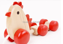 New ! 2014 Free shipping the Wooden play puzzle hen egg wooden trailer child pull toys 1 - 3 ,5 years old baby
